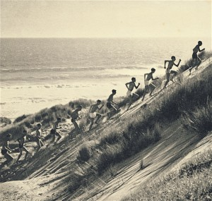 Percy Cerutty and his runners during a dune running session at Portsea