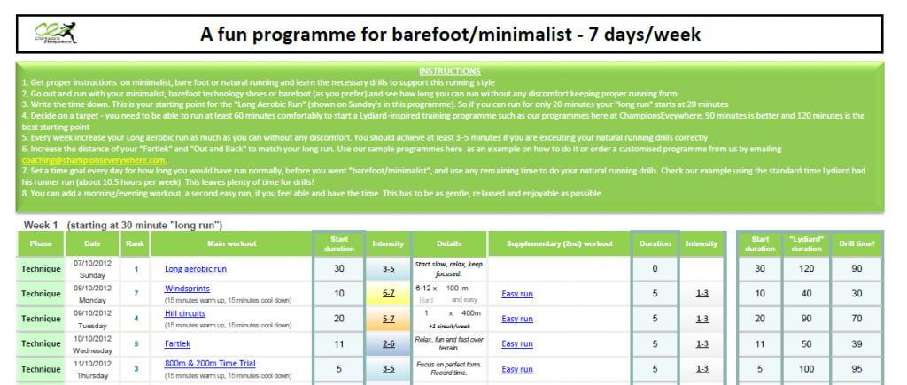 Barefoot transition programme screenshot
