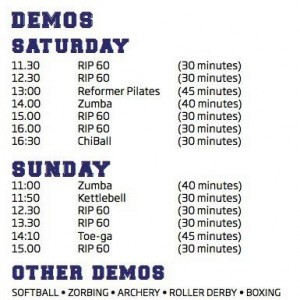 Timetable sports and fitness show RDS