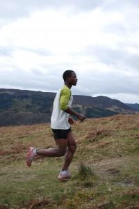 Runner filmed on the uphill